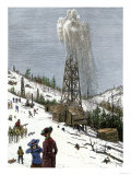 Early Oil Well Gushing in Pennsylvania 1880 Giclée-Druck