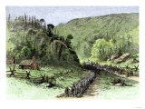 General James Longstreet's March through Thoroughfare Gap at the Second Battle of Bull Run, c.1862 Reproduction procédé giclée