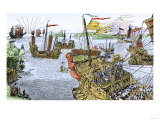 Ships of Marco Polo on the Mediterranean Sea, c.1300 Premium Giclee Print