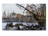 Boston Tea Party, a Protest against British Taxes Before the American Revolution, c.1773 Impression giclée