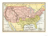 Map of the United States in 1861, at the Start of the Civil War Giclee Print