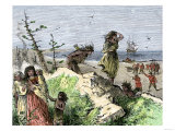 Henry Hudson&#39;s Attack on a Native American Village on the Atlantic Coast, c.1609 Giclee Print