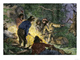 Trappers and Woodsmen Exchanging Stories Around a Campfire Giclee Print