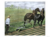 Farmer Plowing Sod with a Team of Horses, c.1800 Giclee Print