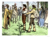 Fur Traders and Native Americans Conversing in Pantomine Giclee Print