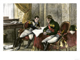 Napoleon Bonaparte and Tsar Alexander I Discussing a Treaty of Alliance at Tilsit, c.1807 Giclee Print