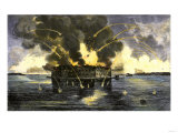 Confederate Bombardment of Fort Sumter, Starting the American Civil War, c.1861 Reproduction procédé giclée