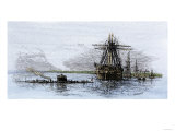Arrival of the Union Ironclad, Monitor, at Hampton Roads, Virginia, c.1862 Impression giclée