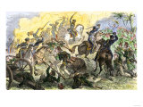Charge of Captain May's U.S. Cavalry during the U.S.-Mexican War, c.1840 Giclee Print