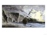Henry Grinnell's Ship aground during the Search for the Lost Sir John Franklin Expedition, c.1853 Giclée-Premiumdruck