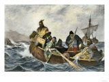 Leif Erikssen Off the Coast of Vineland in a Viking Landing Boat Premium Giclee Print