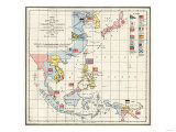 Map of the China Seas, Philippines, and European Colonies in the Region, c.1898 Giclee Print