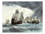 Ships of Ferdinand Magellan Rounding Tierra del Fuego to Circumnavigate the Earth 1519 to 1521 Giclee Print