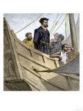 Jacques Cartier Aboard Ship Arriving on the Shore of Canada, c.1534 Giclee Print