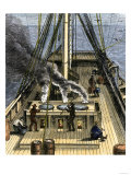 Trying Out - Boiling Whale Bubber for Oil on a Whaling Ship, c.1800 Impressão giclée