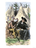 French Jesuit Missionary in a Native American Village Giclee Print