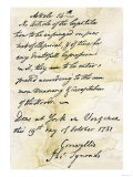 Capitulation Document from Lord Cornwallis to General Washington at Yorktown, c.1781 Giclee Print