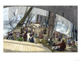 Gold Seekers En Route to the California Gold Rush on a Clipper Ship in Fair Weather, c.1849 Giclee Print