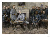 General Robert E. Lee Surrendering the Confederate Army to Union General Ulysses S. Grant, c.1865 Premium Giclee Print