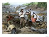 Lumbermen Clearing a Log-Jam on a River, c.1800 Giclee Print