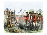 British General Burgoyne Addressing Native Americans to Secure an Alliance Giclee Print