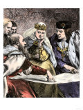 Columbus Showing a Map to Ferdinand and Isabella of Spain Giclee Print