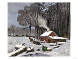 Horsedrawn Sleds Hauling Sap in a Maple Sugar Camp 1800 Giclee Print