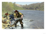 Prospector Panning for Gold Near Sutter's Mill in the American River, Coloma, California Giclee Print