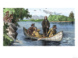 La Salle and His Companions Exploring the Lower Mississippi River for France, c.1682 Premium Giclee Print