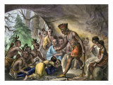John Smith Saved by Pocahontas, Jamestown Colony, Virginia Colony, c.1607 Giclee Print