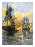 U.S. Fleet of Oliver H. Perry during His Naval Victory over the British on Lake Erie in 1813 Premium Giclee Print