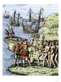 Expedition of Christopher Columbus Landing at Hispaniola, c.1492 Giclee Print