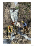 Prospectors Finding Gold in a Stream during the California Gold Rush Giclee Print