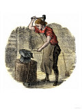 Blacksmith Making Horse-Nails by Hand on an Anvil Giclee Print