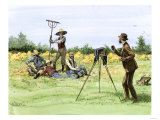 Traveling Photographer Taking a Picture of Farmers in Their Field, c.1880 Giclee Print