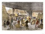 Unloading Tea-Ships in the British East India Company's Docks, London, c.1860 Premium Giclee Print