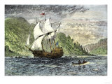 Henry Hudson's Ship, Half-Moon, Ascending the Hudson River, c.1609 Giclee Print