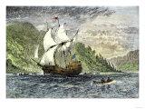 Henry Hudson's Ship, Half-Moon, Ascending the Hudson River, c.1609 Premium Giclee Print