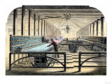 Mill Worker Tending Mule-Spinners, an Industrial Textile Machine, c.1800 Premium Giclee Print