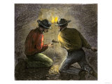 Coal Miners Tamping an Explosive Charge in a Tunnel, c.1860 Giclee Print