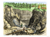 Hydraulic Mining at French Corral, California Gold Rush, c.1850 Giclee Print