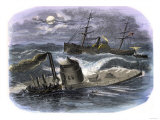 Sinking of the Ironclad USS Monitor in a Gale Off North Carolina, c.1862 Giclee Print