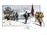 English Explorer John Cabot Landing on the Shore of Canada, c.1484 Premium Giclee Print