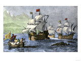 Columbus Expedition Coasting Along the Northern Shore of Cuba Giclee Print