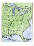 Map Showing the Route of la Salle&#39;s Explorations in North America, 17th Century Giclee Print
