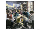 Garment Workers in a Crowded Sweatshop, an Evasion of Factory Labor Regulations, c.1890 Giclee Print