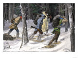 Native American Trappers Carrying Furs on Snowshoes in a Forest of the Pacific Northwest Giclee Print