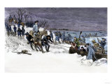 George Washington&#39;s Army Crossing the Icy Delaware River to Attack Trenton, December 1776 Giclee Print