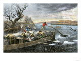 Fur-Traders on the Missouri River Attacked by Native Americans Giclee Print