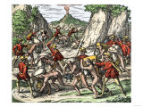 Mistreatment of Natives Used as Slaves by the Spanish in Mexico, c.1500 Giclee Print